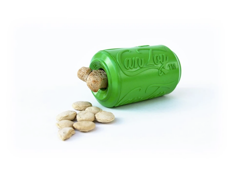 Natural Rubber Treat Dispenser Can Toy, Green