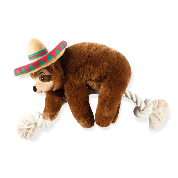 Sombrero Sloth on a Rope Dog Squeaky Plush toy