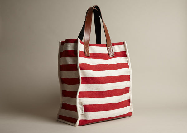Totes: Red Woven Stripe Cotton