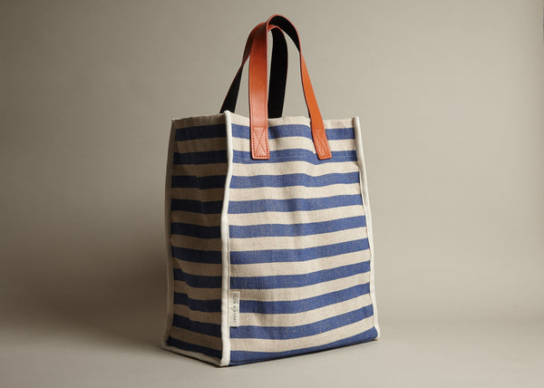 Totes: Blue Woven Stripe Cotton