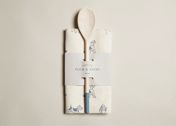 Tea towel and Wooden Spoon Gift Set: Blue Bertie print