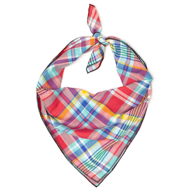 Cotton Bandana for Dogs in Plaid, Coral