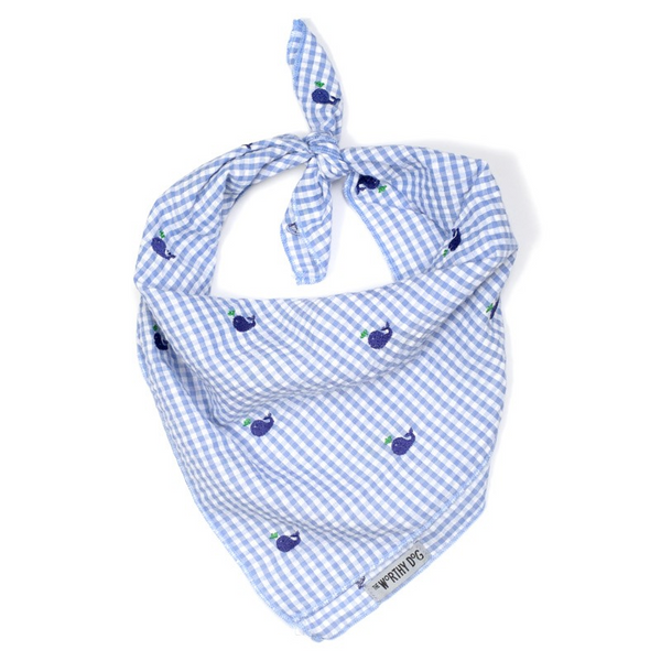 Cotton Bandana for Dogs in Gingham, Blue Whale