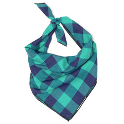 Cotton Bandana for Dogs in Checks, Green/Navy