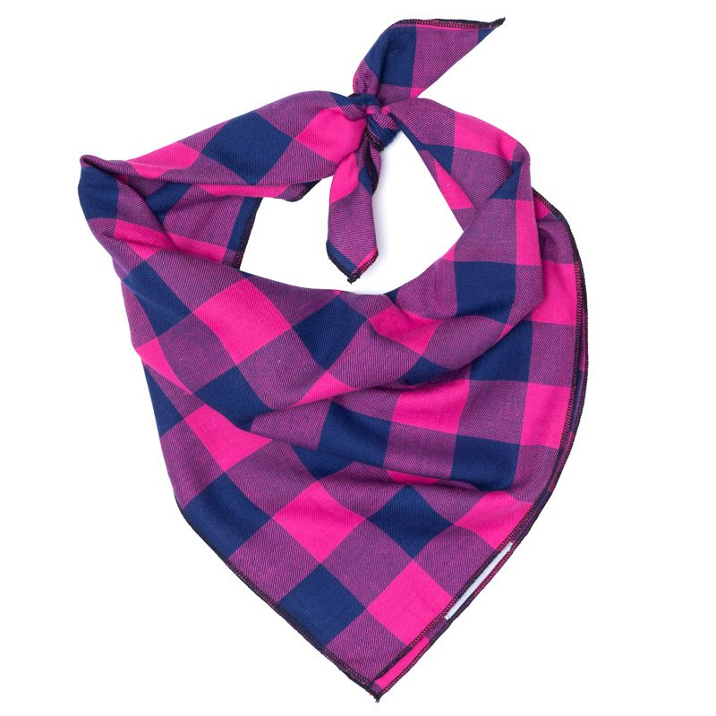 Cotton Bandana for Dogs in Checks, Pink/Navy
