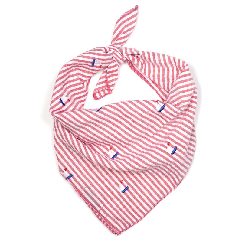 Cotton Bandana for Dogs in Stripes, Red Sailboat