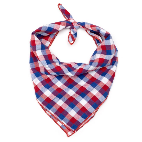 Cotton Bandana for Dogs in Checks, Red/White/Blue