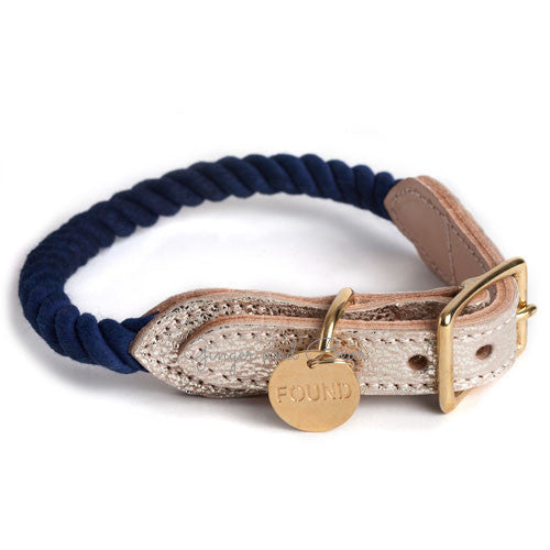Rope and Leather Collar, Blue Ombre with Metallic Leather