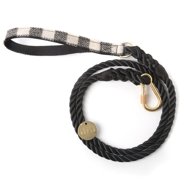 Rope Leash, Black and White Plaid