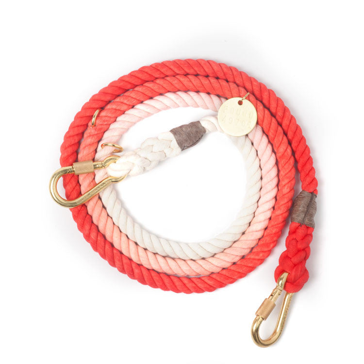 Adjustable Rope Leash, Coral ombre