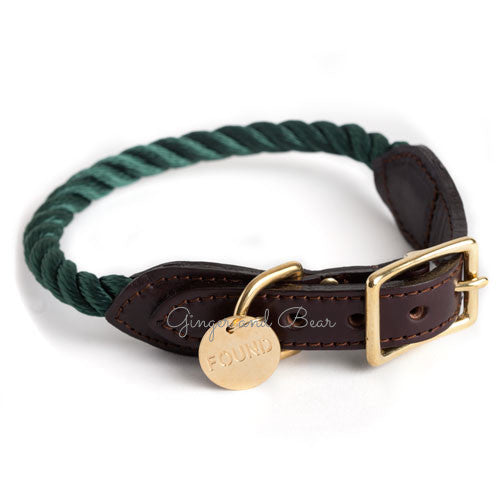 Rope and Leather Collar, Hunter Green