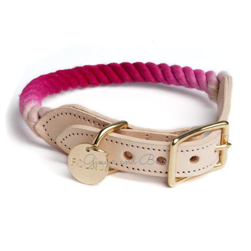 Rope and Leather Collar, Magenta