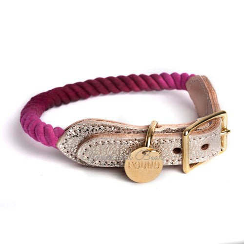 Rope and Leather Collar, Maroon Ombre with Metallic Leather
