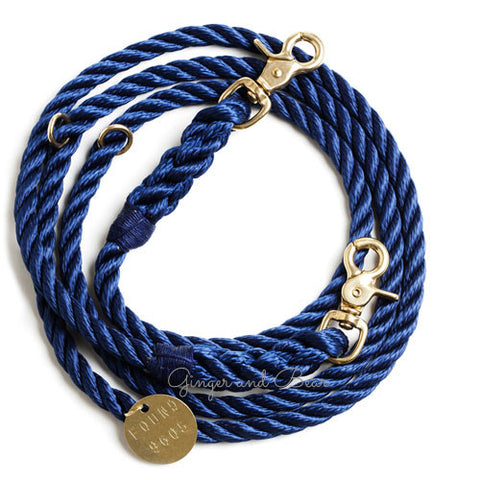 Adjustable Rope Leash, Navy