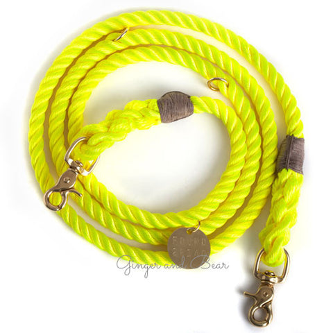 Adjustable Rope Leash, Neon Yellow