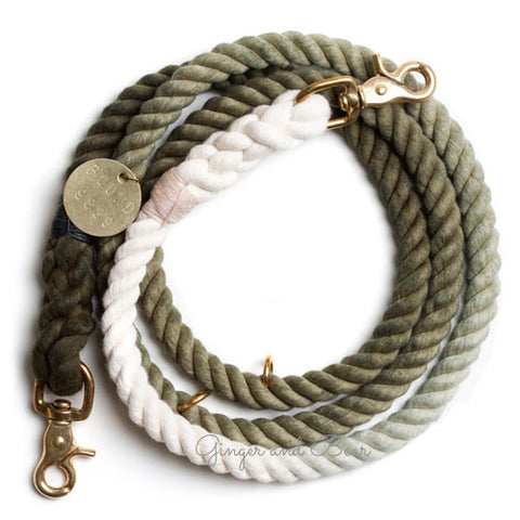 Adjustable Rope Leash, Olive