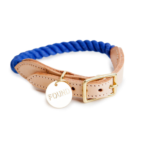 Rope and Leather Collar, Periwinkle