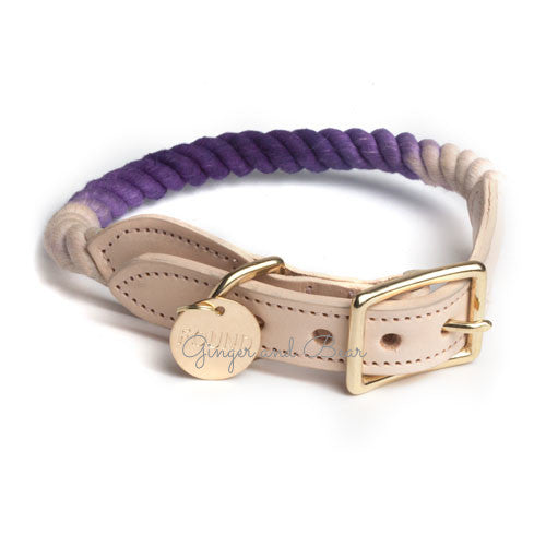 Rope and Leather Collar, Purple