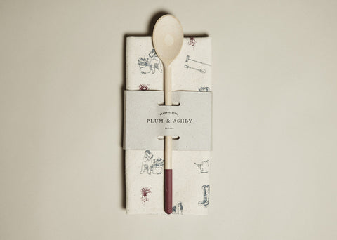 Tea towel and Wooden Spoon Gift Set: Bertie gardening print
