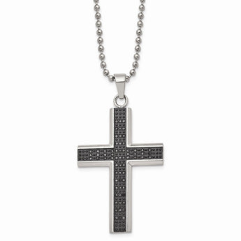 Stainless Steel Polished Fancy Cross 22in Necklace