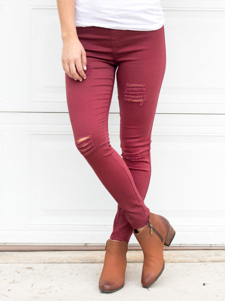 Distressed Jeggings - Maroon
