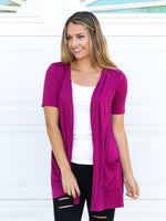 Short Sleeve Perfect Boyfriend Cardigan - Raspberry