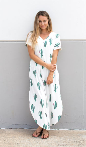 Cactus Relaxed Maxi Dress - Tickled Teal LLC