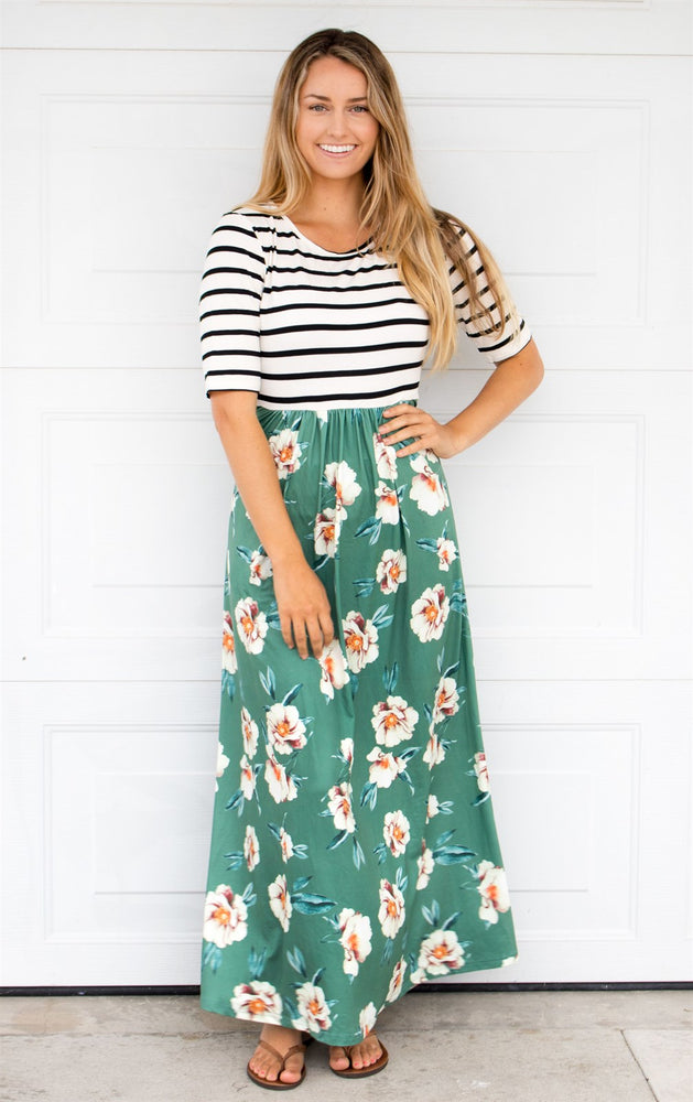 Stripe and Floral Maxi Dress - Green - Tickled Teal LLC