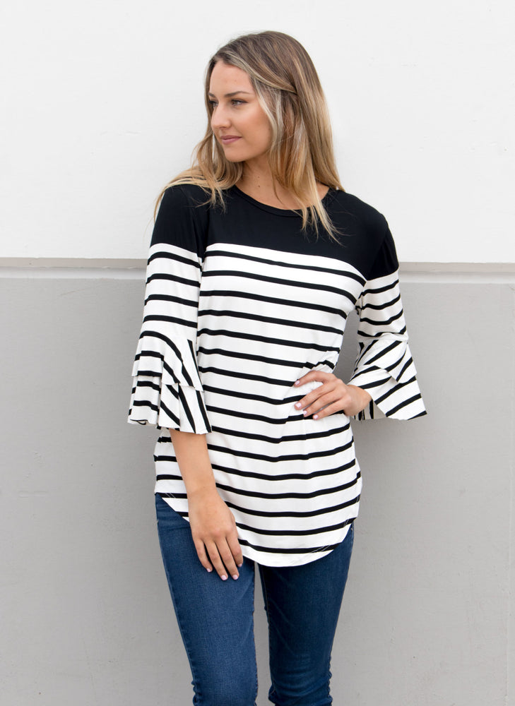 Double Ruffle Stripe Color Block Top - Black - Tickled Teal LLC