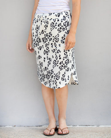 Cheetah Weekend Skirt - White - Tickled Teal LLC