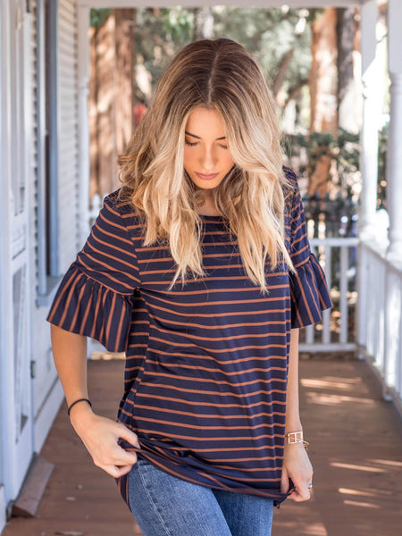 The Payton Top - Navy/Brown