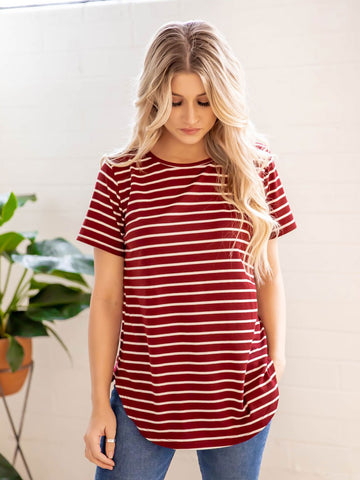 Short Sleeve Striped Mia Top - Burgundy
