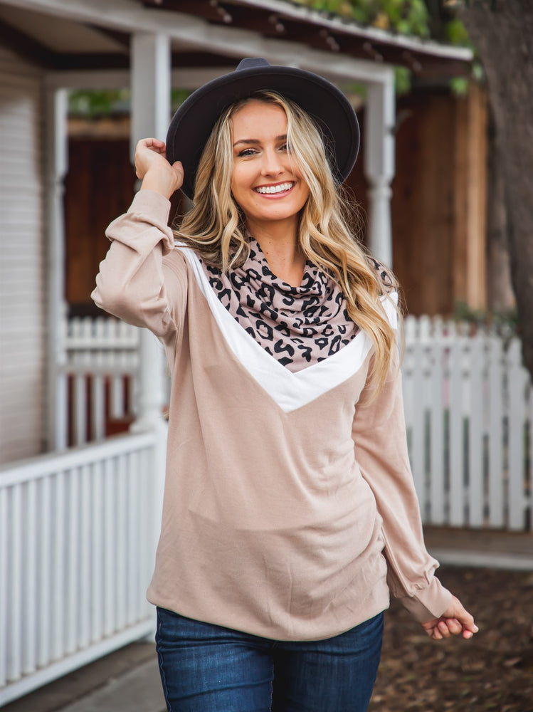 The Marcy Top - Taupe Leopard/Tan