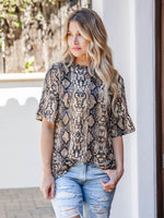 Python Flare Sleeve Top - Brown