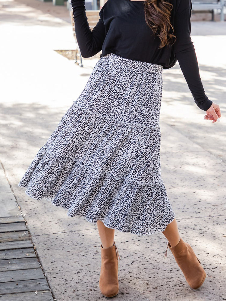 Amara Skirt - Small Blue Cheetah