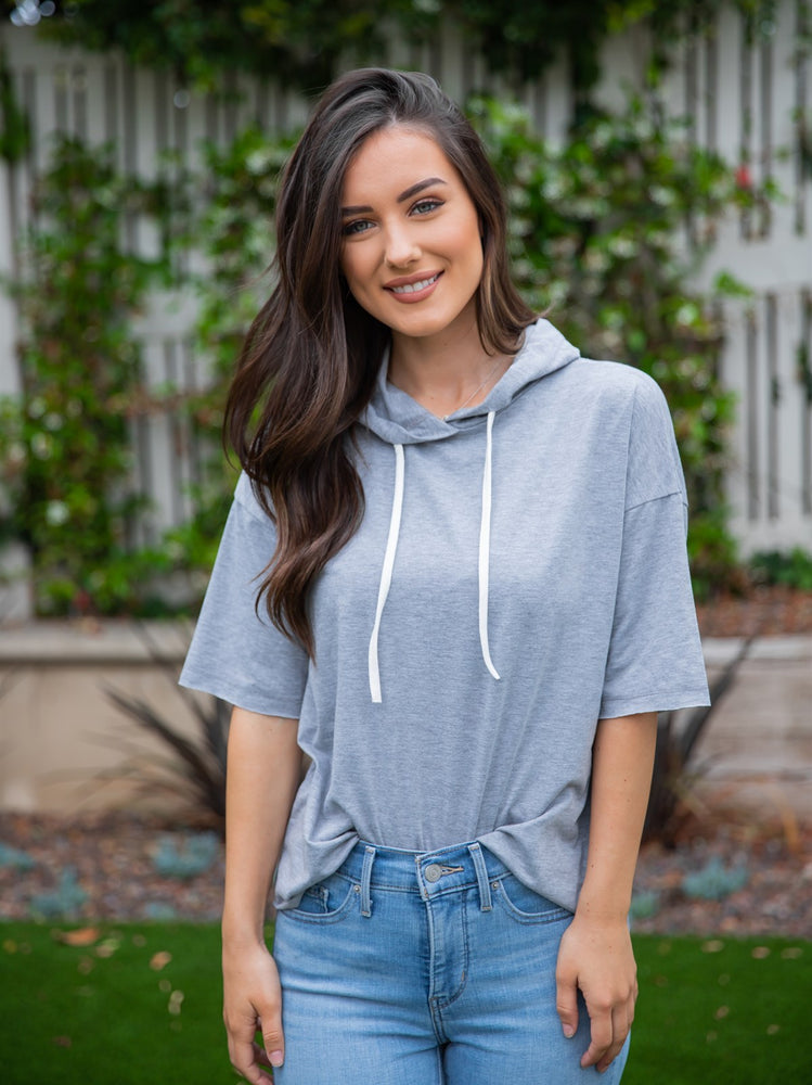 Short Sleeve Hooded Tee - Gray
