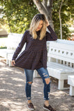 The Ember Top - Navy/Brown - Tickled Teal LLC