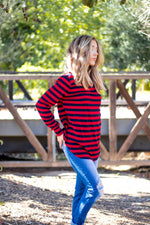 The Gradie Top - Red/Navy