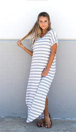 Striped Relaxed Maxi Dress - Gray - Tickled Teal LLC