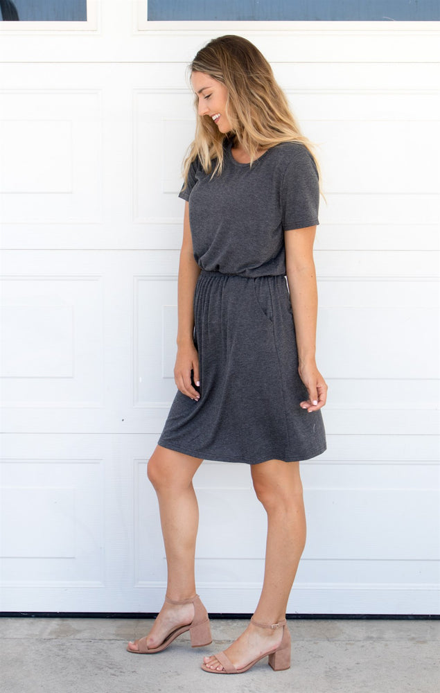The Kolbie Dress - Charcoal - Tickled Teal LLC