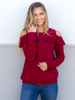 Ruffle Cold Shoulder Top - Cranberry