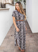 Python Relaxed Maxi Dress - Brown