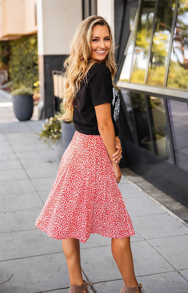 Floral Laura Skirt - Red/Orange