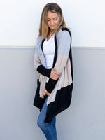 Color Block Cardigan - Black