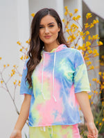 Tie Dye Hooded Tee - Neon Rainbow