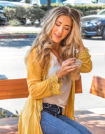 3/4 Sleeve Lace Trim Cardigan - Mustard - Tickled Teal LLC