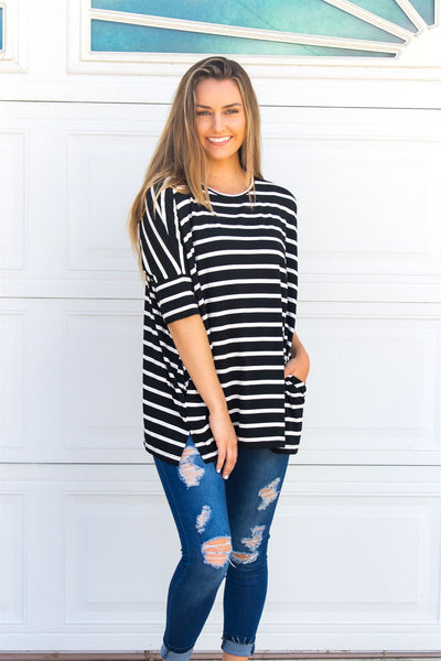 Stripe Side Pocket Tunic - Black - Tickled Teal LLC