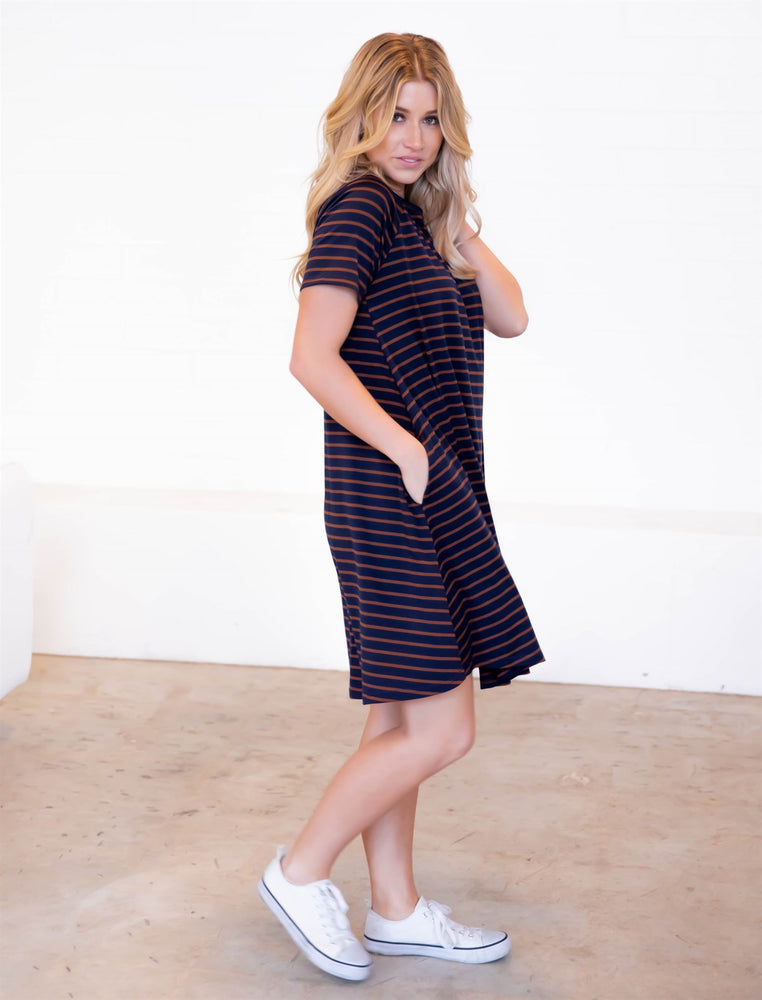 The Delilah Dress - Navy/Brown