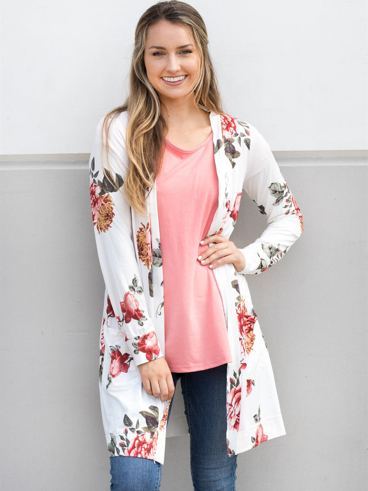 Floral Long Sleeve Cardigan - White