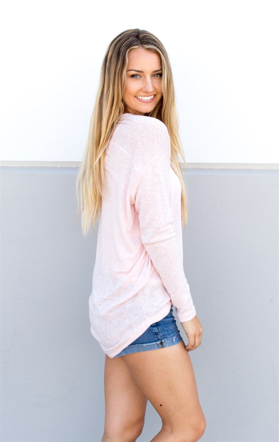 Lightweight Summer Sweater - Blush Pink - Tickled Teal LLC
